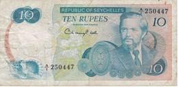 BILLETE DE SEYCHELLES DE 10 RUPEES DEL AÑO 1976  (BANKNOTE) CARACOLA-SEA SHELL - Seychellen