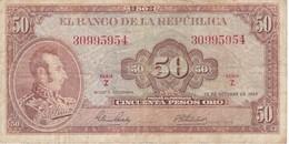 BILLETE DE COLOMBIA DE 50 PESOS DE ORO DEL AÑO 1967  (BANK NOTE) - Colombia