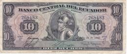 BILLETE DE ECUADOR DE 10 SUCRES DEL AÑO 1960 (BANKNOTE) RARO - Ecuador