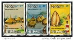 (282) Ethiopia / Ethiopie  Architecture / Huts / Hütten / 1984  ** / Mnh  Michel 1179-81 - Ethiopia