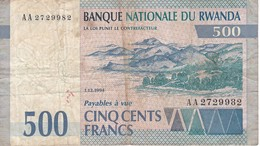 BILLETE DE RWANDA DE 500 FRANCS DEL AÑO 1994 (BANK NOTE) - Rwanda