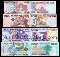 Sierra Leona Leone Full Set 1000 2000 5000 10000 Leones 2010-2017 Pick 30 31 32 33 UNC - Sierra Leona