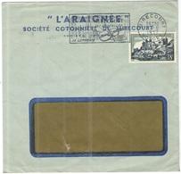 FRANCIA - France - 1957 - 18F Uzerche + Flamme Ses Dentelles, Sa Luthèrie - Seul - L'Araignée - Viaggiata Da Mirecourt - France