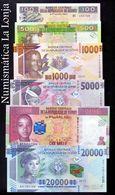 Guinea Full Set 100 500 1000 5000 10000 20000 Francs 2012-2015 Pick New SC UNC - Guinea