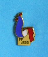 1 PIN'S //   ** F.F.J. ** FÉDÉRATION FRANÇAISE DE JUDO ** . (A.B.) - Judo