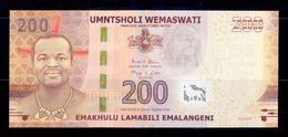 Suazilandia Swaziland 200 Emalangeni 2017 (2018) Pick New AA SC UNC - Swaziland