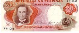 Philippines P.145A 20 Piso 1969 Unc - Filippine