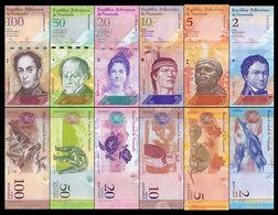 Venezuela Set 2 5 10 20 50 100 Bolívares 2007-2017 Pick 88-93 SC UNC - Venezuela