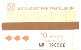 SWEDEN_SJ : T04 2x5Kr Brown 'InterCity' Typ710 USED - Suède