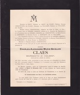 VINALMONT Bourgmestre Charles-Alexandre CLAES 1851-1911 Famille De DIEST  T'SERSTEVENS Famille LEMBECQ - Obituary Notices