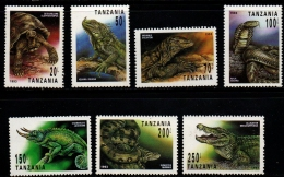 Tanzania 1993 Reptiles 7 Values MNH, Giant Turtle, Iguana, Varaan, Cobra, Chameleon, Anaconda, Alligator - Other