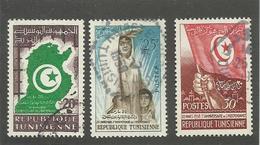 TUNISIE - N°YT 451/53 OBLITERES - COTE YT : 0.90€ - 1958 - Tunisie (1956-...)
