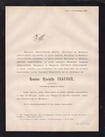 LIEGE Hyacinthe CHAUDOIR Industriel 70 Ans 1876 époux BECO Familles GLOXIN, LECHAT DUBOIS Faire-part Mortuaire - Obituary Notices