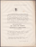 ALLEUR Bourgmestre Joseph-Hubert De CLERCX De WAROUX 74 Ans 1860 Famille De THIER De NEDERCANNE - Obituary Notices
