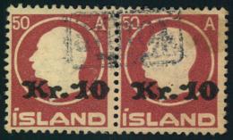 "1925, 10 Kr. On 50 A. King Frederik VIII Horizontal Pair With """"Tollur"""" Cancellation. - Islande"