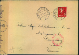 1943, Envelope With T.P.O. NORLANDSBANEN With German And Danish Censor Sent To Aarhus, Denmark. - Norvège