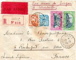 Lettres Indochine  Pour La France ( Rochefort-sur-mer.17) - Indochine (1889-1945)