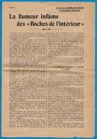 """1ère Guerre Mondiale TRACT Rédigé Par Le Clergé Suite à La """"Rumeur"""" """"DES BOCHES De L'INTERIEUR"""" ** Religion Catholique - Documents Historiques"""