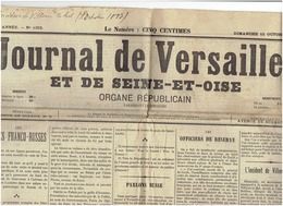 JOURNAL DE VERSAILLES ET DE SEINE ET OISE ( Villers Le Bel , Lycée Hoche Et Polytechnique )  Du 15 Octobre 1893 - Newspapers