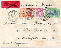 Lettres Indochine  Pour La France ( Rochefort-sur-mer.17) - Storia Postale