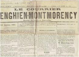 Le COURRIER D'ENGHIEN-MONTMORENCY   Du 26 Octobre 1893 ( Incident Villers Le Bel) - Newspapers