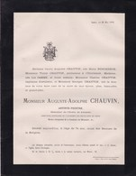 LIEGE Artiste Peintre Auguste-Adolphe CHAUVIN Famille JAMME 74 Ans 1884 Famille BUSCHBECK - Obituary Notices