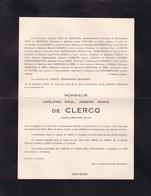 ANZEGEM SAINT-Gilles Adolphe De CLERCQ 1907-1948 Famille De SERRET VERSTRAETE REYNAERT En 2 Volets Ok - Obituary Notices