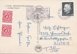 ÖSTERREICH NACHPORTO - 2x50 Gro Nachporto + 0,60 F? Auf Ak MONACO, Gel.v. Monaco N. Hennersdorf - Postage Due
