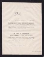 ALLEUR Marie-Sophie De THIER De NEDERCANNE Veuve De CLERCK De WAROUX 72 Ans 1867 Faire-part Mortuaire - Obituary Notices