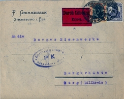 1918 , CORREO EXPRESS , MARCA DE CENSURA , STRASSBURG - BURG , - Cartas