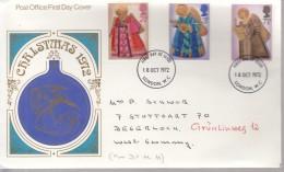 GROSSBRITANNIEN  606-608, FDC Echt Gelaufen, Weihnachten 1972 - 1971-1980 Dezimalausgaben