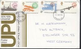 GROSSBRITANNIEN  650-653, FDC Echt Gelaufen, 100 Jahre Weltpostverein (UPU) 1974 - 1971-1980 Dezimalausgaben