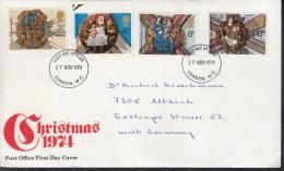 GROSSBRITANNIEN  663-666, FDC, Echt Gelaufen, Weihnachten 1974 - 1971-1980 Dezimalausgaben