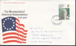 GROSSBRITANNIEN 710, FDC, Echt Gelaufen,  200 Jahre Unabhängigkeit Der Vereinigten Staaten Von Amerika 1976 - 1971-1980 Dezimalausgaben