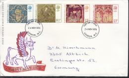 GROSSBRITANNIEN 723-726, FDC, Echt Gelaufen,  Weihnachten 1976 - 1971-1980 Dezimalausgaben