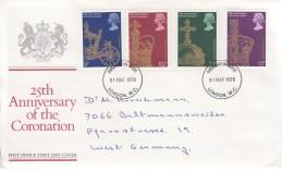 GROSSBRITANNIEN 765-768, FDC, Echt Gelaufen,  25. Jahrestag Der Krönung Von Königin Elizabeth II. 1978 - 1971-1980 Dezimalausgaben