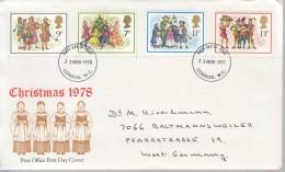 GROSSBRITANNIEN 777-780, FDC, Echt Gelaufen, Weihnachten: Weihnachtssingen 1978 - 1971-1980 Dezimalausgaben