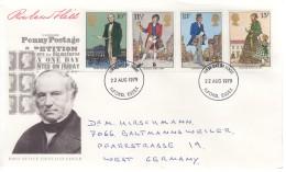 GROSSBRITANNIEN 804-807, FDC, Echt Gelaufen, 100. Todestag Von Rowland Hill 1979 - 1971-1980 Dezimalausgaben
