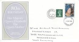 GROSSBRITANNIEN 845 + ZFr., FDC, Echt Gelaufen, 80. Geburtstag Von Königinmutter Elizabeth 1980 - 1971-1980 Dezimalausgaben