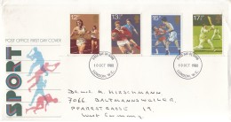 GROSSBRITANNIEN 850-853, FDC, Echt Gelaufen, Sport: Leichtathletik, Rugby, Boxen, Kricket 1980 - 1971-1980 Dezimalausgaben