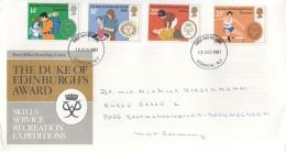 GROSSBRITANNIEN 886-889, FDC, Echt Gelaufen, 25 Jahre Jugendförderpreis Des Herzogs Von Edinburgh 1981 - FDC
