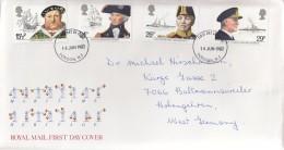 GROSSBRITANNIEN 918 ,920-922, FDC, Echt Gelaufen, Britische Seefahrttradition 1982 - FDC