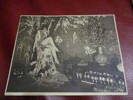 RARE PHOTO SIGNE 22X17CM STUDIO GEORGES MARANT Paris + TAMPON PAD 1930 MISTINGUETT Décor Japon EMILE BERTIN MUSIC HALL - Famous People
