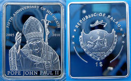 PALAU 1 $ 2010 COPPER SILVER PLATED PROOF MINTAGE 2010 PCS POPE JOUN PAUL II 5 YEAR OF DEATH PESO 27g CONSERVAZIONE FOND - Palau