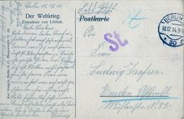 """1914 , TARJETA POSTAL CIRCULADA  , BERLIN , MILITARIA , """" DER WELTKRIEG - EINNAHME VON LÜTTICH """" - Cartas"""