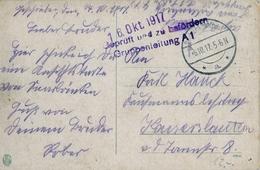 """1917 , TARJETA POSTAL CIRCULADA  , FELDPOST , MARCA DE CENSURA  """" GRUPPENLEITUNG A1 """" - Cartas"""