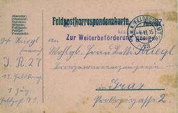 1915 , TARJETA POSTAL MILITAR , FELDPOST , CIRCULADA A GRAZ , ILUSTRADA AL DORSO POR EL SOLDADO QUE LA ENVIÓ. CENSURA - Cartas