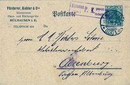 1916 , TARJETA POSTAL COMERCIAL , CENSURA , MULHAUSEN - ALTENBERG - Cartas
