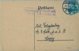 1915 , TARJETA POSTAL , CENSURA DE ESTRASBURGO , SCHILTIGHEIM - LEIPZIG - Cartas