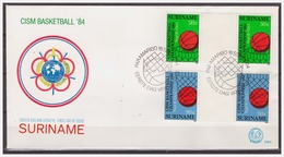 Surinam / Suriname 1984 FDC 83 BP CISM Basketbal Basketball Basket - Suriname
